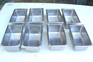 8 pack 1 4 Size 4 Deep Stainless Steel Pans Steam Table Salad Bar