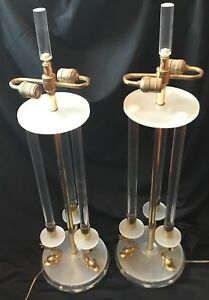 Large Pair Bauer Lamp Company Lucite Brass Dolphin Vintage 1989 Mcm Table Lamps