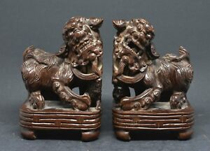 Antique Chinese Carved Wood Pair Foo Dog Figurines 5 Inches Tall