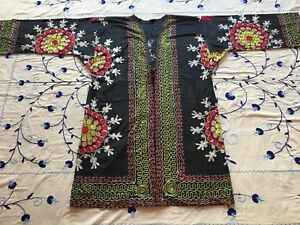Embroidery Uzbek Beautiful Vintage Original Suzani Jacket Robe Dress