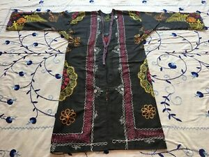 Vintage Uzbek Antique Embroidery Suzani Jacket Robe Dress