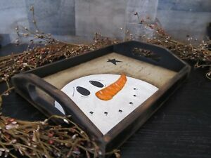 Primitive Wood Small Serving Tray Snowman Black Tan Distressed Country Star