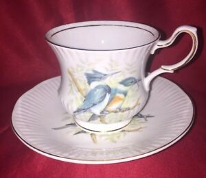 Queen S Rosina Birds Of America Series Belted Kingfisher Tea Cup And Saucer Set