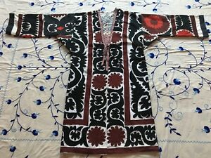 Uzbek Antique Vintage Handmade Embroidery Suzani Jacket Robe Dress