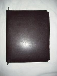 Day timer Burgundy Leather Folio Zipper Organizer Agenda Planner Binder