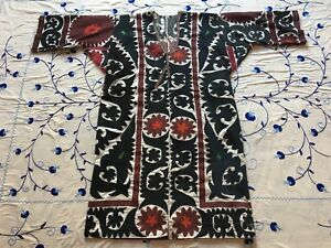 Original Antique Uzbek Vintage Handmade Embroidery Suzani Jacket Robe Dress
