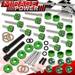 Acura D series Cup header cam Cap m6 6pc Fender valve Cover Washer bolt Green