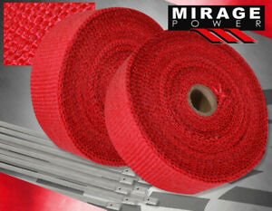 30ft X 2 X 1 5mm Fiberglass Heat Wrap Shield Cover Exhaust Down Pipe Kit Red