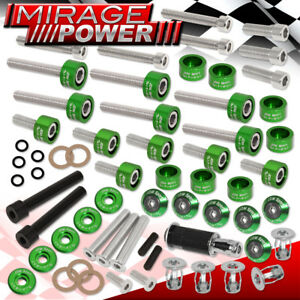 Jdm Acura D series Cup header cam Cap m8 Fender valve Cover Washers bolt Green