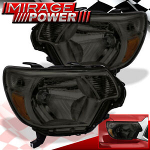 For 2012 2013 2014 2015 Toyota Tacoma Pickup Smoked Headlights Amber Reflector