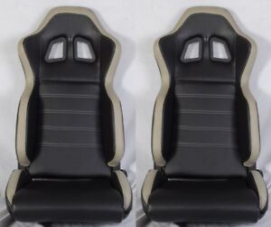 2 X R1 Style Black Gray Racing Seats Reclinable Slider Fit For Bmw