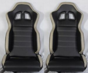 2 X R1 Style Black Gray Racing Seats Reclinable Slider Fit For Mitsubishi