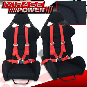 Reclinable Racing Bucket Black Seats Pair 4pt Red Quick Release Camlock Seatbelt