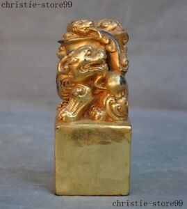Chinese Bronze Gilt Auspicious Lion Foo Dog Beast Beads Statue Seal Stamp Signet
