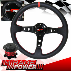 Universal Black Red Stitching Steering Wheel Competition Quick Release Godsnow