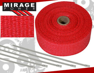 30ft Cat Test Down Pipe Piping Exhaust Red Heat Wrap Cover Stainless Zip Ties