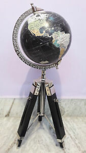 Antique World Globe With Wooden Tripod Stand Home Decor