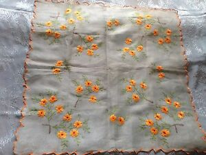 Beautiful Vintage Hand Embroidered Cambric Tablecloth
