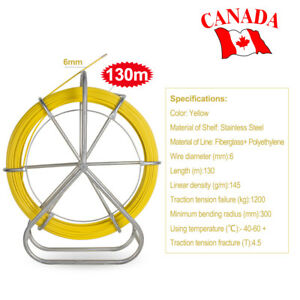 Fish Tape Fiberglass Wire Cable Running Rod Duct Rodder Puller Non conductive Ca