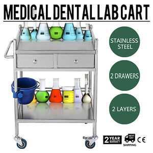 Stainless Steel 2 Layers 2 Drawer Serving Medical Dental Lab Cart Trolley Sh