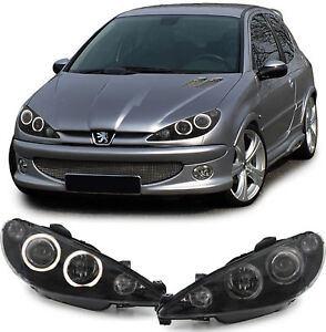 Clear Black H7 H7 Headlights Set With Angel Eye Rings For Peugeot 206 98 02