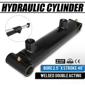 Hydraulic Cylinder 2 5x 40 Stroke Double Acting Garden Agriculture Excellent
