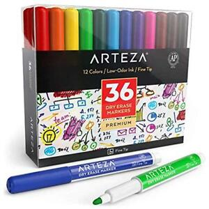 Erasable Markers Dry Erase Markers Pack Of 36 with Fine Tip 12 Assorted Ink
