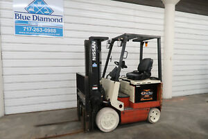 2004 Nissan 4 000 Electric Forklift 3 Stage 4 Way Hyd S s
