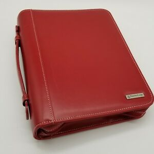 Franklin Covey Day Planner Binder Red 7 ring Organizer Zipper Handle 8x10 5x2 25