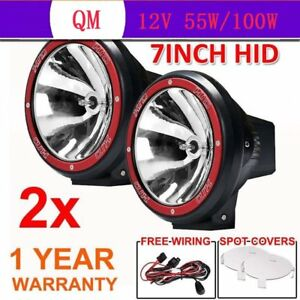 2pcs 7 Inch 7 100w Driving Lights Hid Xenon 12v Spot Off Road Ute Work Red Wk