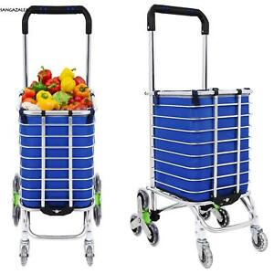 8 Wheel Alu Folding Portable Shopping Grocery Basket Cart Trolley swivel Wheel