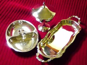 Vtg Silverplate Footed Candy Bowl Oneida Cookie Tray Fb Rogers And Candy Dish