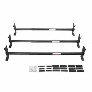 Adjustable Pickup Truck Cap Topper 3 Bar Ladder Roof Van Rack Steel Sandy Black