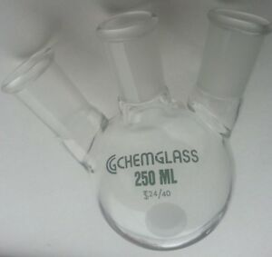 1 Chemglass 250ml 3 neck Heavywall Round Bottom Flask 20 Angle 24 40 Cg 1524 03