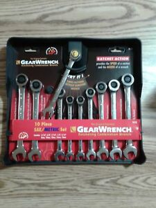 9418 Gearwrench 10 Piece Sae metric Ratcheting Combination Wrench Set