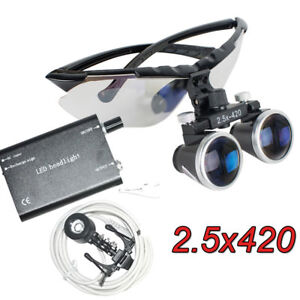 Fda Balck Frame Dental Surgical Binocular Loupes 2 5x 420mm Clip Led Head Lamp