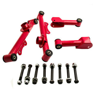 For Ford Mustang 79 04 Upper And Lower Rear Red Tubular Control Arms W Bushings