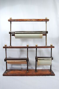 Antique General Store Oak Triple Paper Roll Cutter Dispenser Rack Rare
