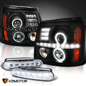 Black 02 06 Escalade Twin Halo Projector Headlights led Fog Lamps