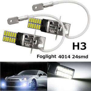 2pcs H3 24smd Cree Led Bulbs Fog Light Car Drl Driving Headlight Lamps 12v