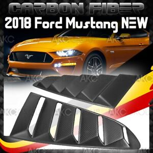 Dry Matte Real Carbon Fiber Side Vent Window Scoop Louver For 2018 Ford Mustang