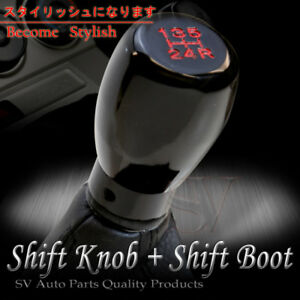 Fit 99 07 Chevy Corvette 5 Speed Manual Shift Knob W Black Stitch Boot Cover