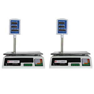 2 Pack Scale Food Price Digital Computing Produce Meat Deli Weight 60lb Acs 30
