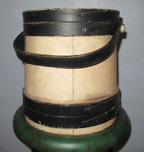 Early Painted Firkin Sugar Bucket 9 1 2 Black Cream Wooden Primitive Aafa