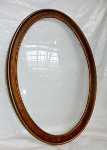 Antique Convex Bubble Glass Wood Wooden Frame No Photo Oval 22 X 16 Victorian