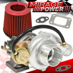 T3 T4 V Band Oil Cooled Turbo Charger Internal Wastegate Air Filter Red