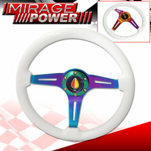 345mm Steering Wheel White Wood Neo Chrome 3 Spoke Deep Dish Racing Fukushi