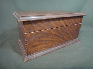 Antique Oak Lidded Box Small Wood Chest For Jewelry Watches Fountain Pens Etc