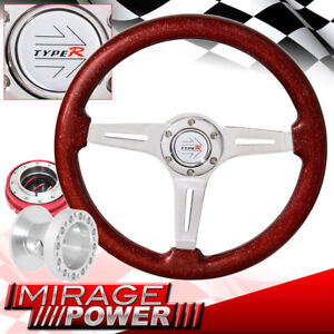 Sparkle Red Wood Steering Wheel Hub Red Slim Quick Release For 01 05 Eclipse
