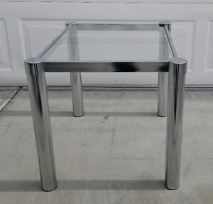 Mid Century Milo Baughman Style Chrome Tubular Leg Accent Side End Table